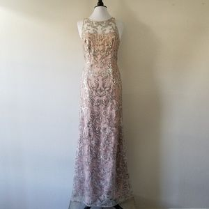 Adrianna Papell Pink&Silver Sequin Gown 12 (NWOT)